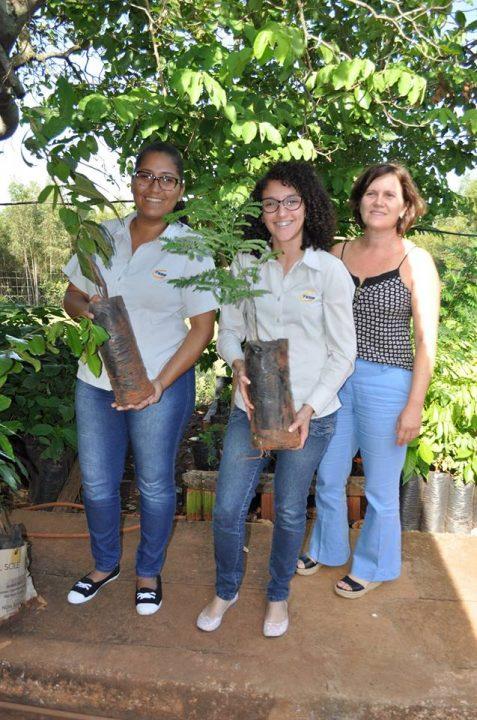 """Colaboradores da TEBE aderem a Campanha """"Adote uma Árvore"""" e pegam mudas frutiferas"""