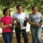 Marilei Alves entregou para as colaboradoras Lisa Lemos e Ana Maria, mudas frutíferas e nativas.