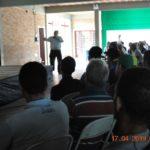 O Gerente de Operações Fernando dos Santos, ministrando a palestra para funcionários da Usina Nardini.