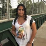 Lorryane Jeniffer Castro, ganhou o kit ao utilizar a passarela no seu percurso indo para escola.