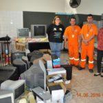 Diretora Sonia Paro, com os colaboradores da TEBE, Claudio e Renato e a vice-diretora Maira.