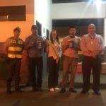 Durante a ação, Cabo PM Leandro, motorista Renan Franco de Camargo, Ouvidora da TEBE Janaina de Freitas Ramos, motorista Paulo Cesar Tavares e o Gerente de Operações da TEBE Fernando dos Santos.